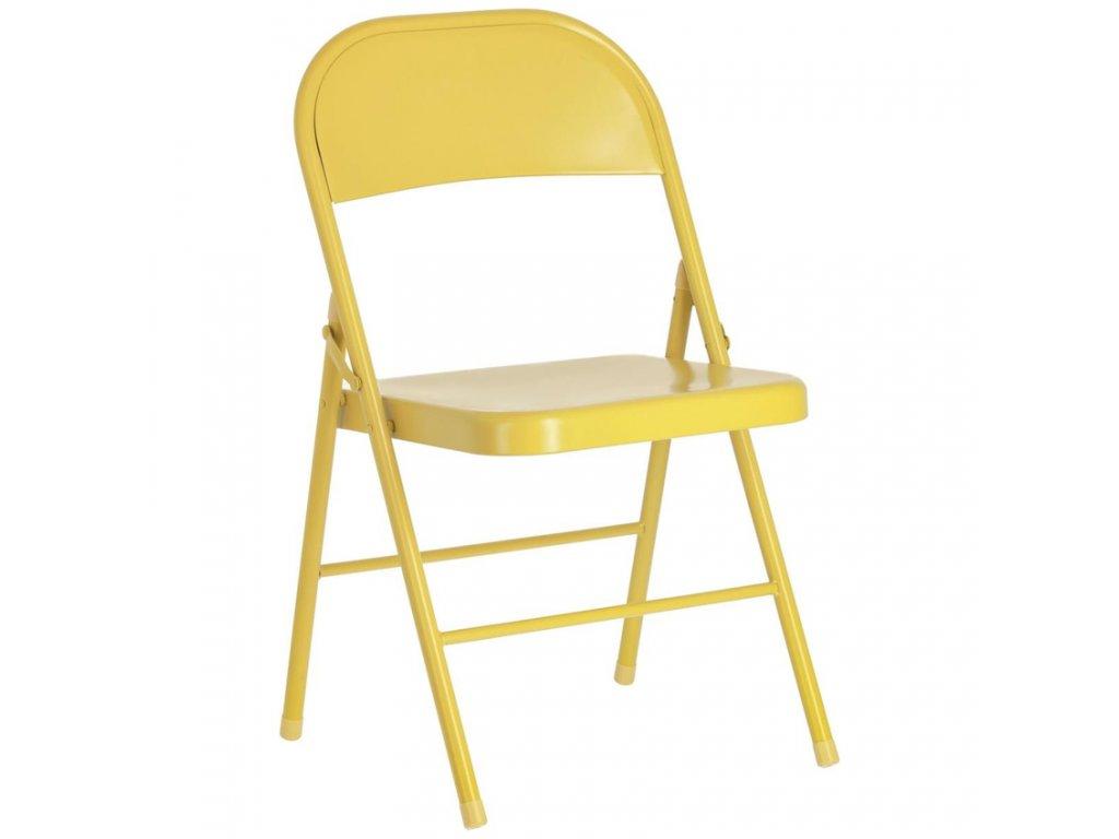 Hořčicově žlutá kovová skládací jídelní židle LaForma Aidana