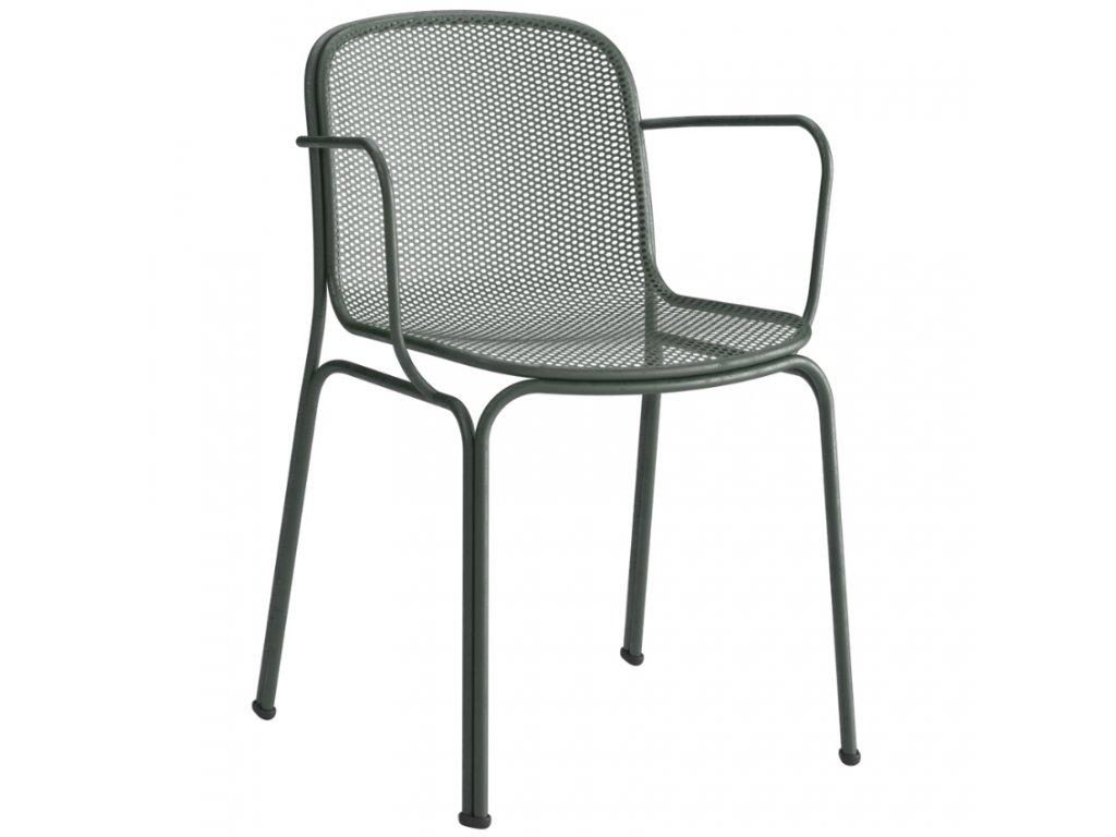 Tmavě zelená kovová zahradní židle COLOS VILLA 2