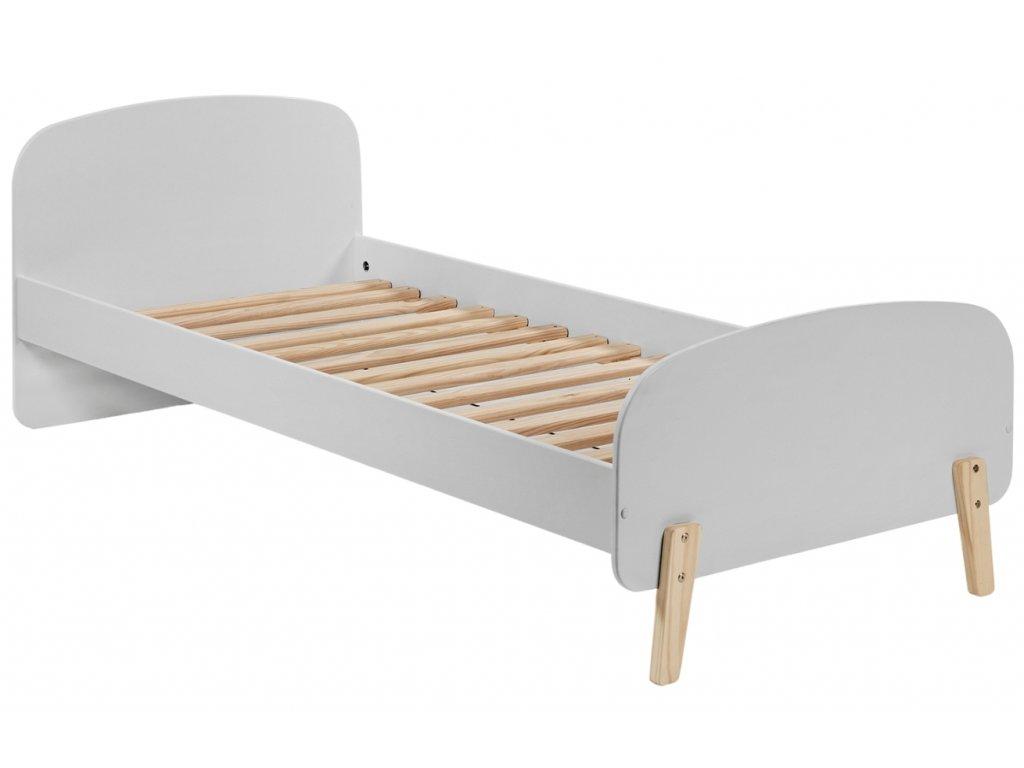 Šedá dřevěná dětská postel Vipack Kiddy 90x200 cm