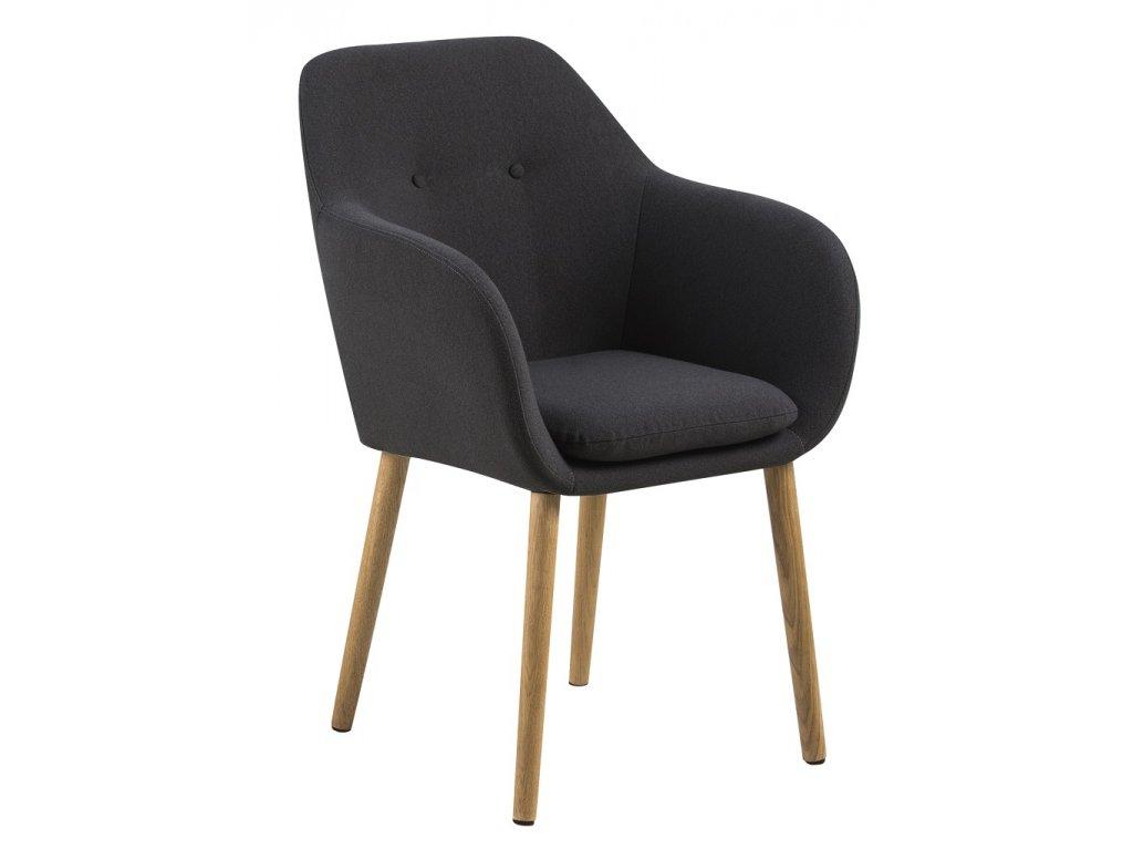 Tmavě šedá látková jídelní židle s područkami Milla, čalounění, podnož z masivního dubového dřeva