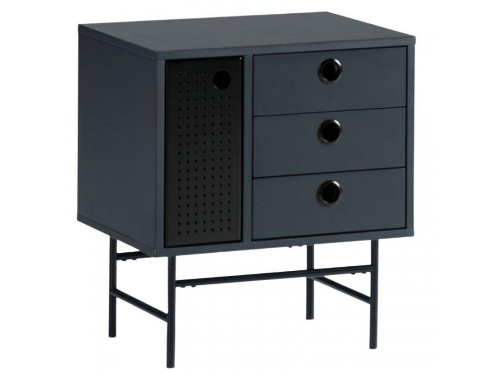 Tmavě modrý dřevěný noční stolek Teulat Punto