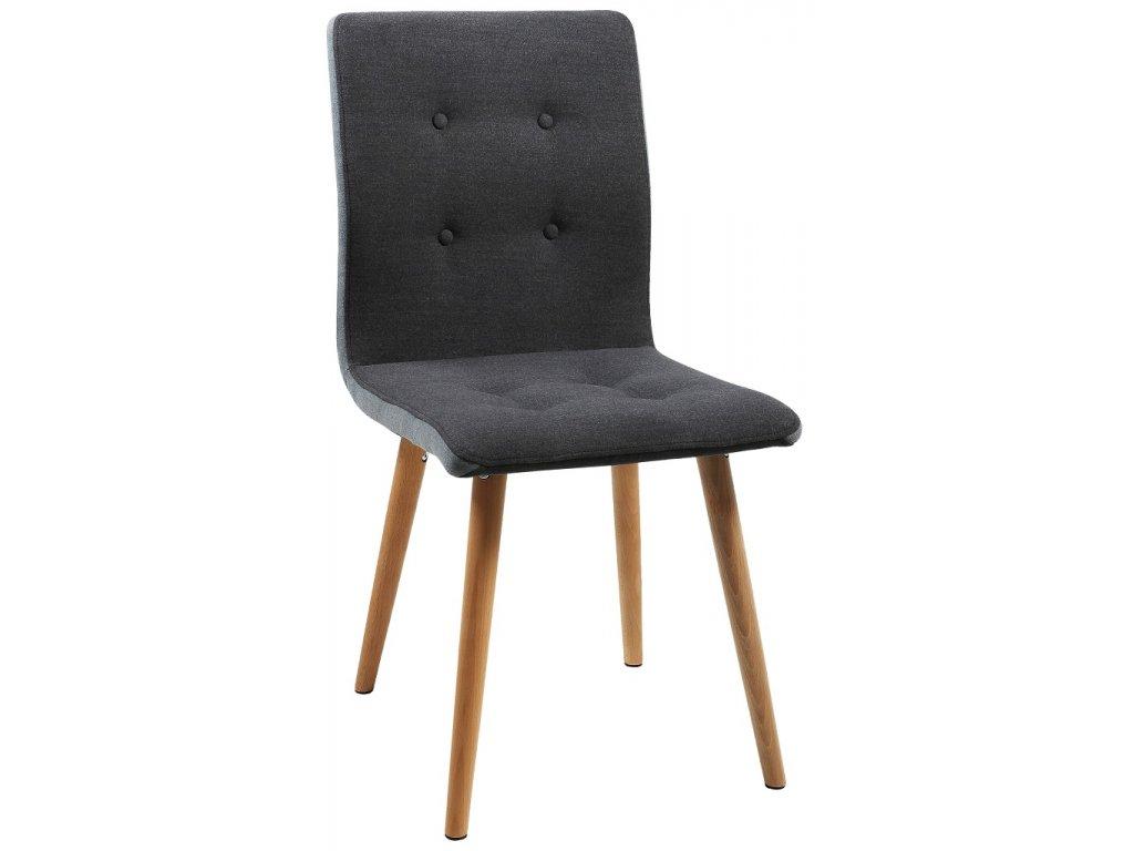 Tmavě šedá látková jídelní židle Fredy, masivní podnož z dubového dřeva ošetřeného olejem, protiskluzové plstěné podložky