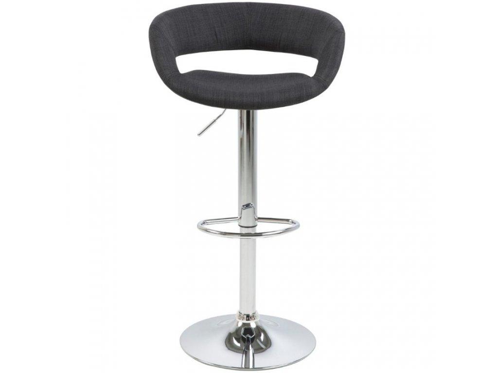 Antracitově šedá látková barová židle Garry 59-80 cm
