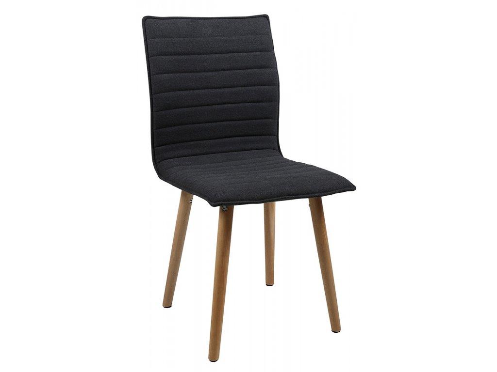 Tmavě šedá látková jídelní židle Frida, 100% polyester, podnož z masivního dubového dřeva,protiskluzovými plstěnými podložkami