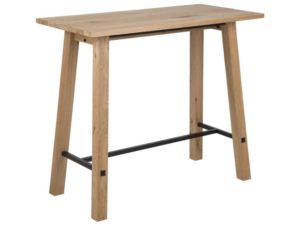 Přírodní dubový barový stůl Kiruna 120 cm, lakovaná dubová dýha, MDF, podnož z masivního dubového dřeva, černě lakovaný kov