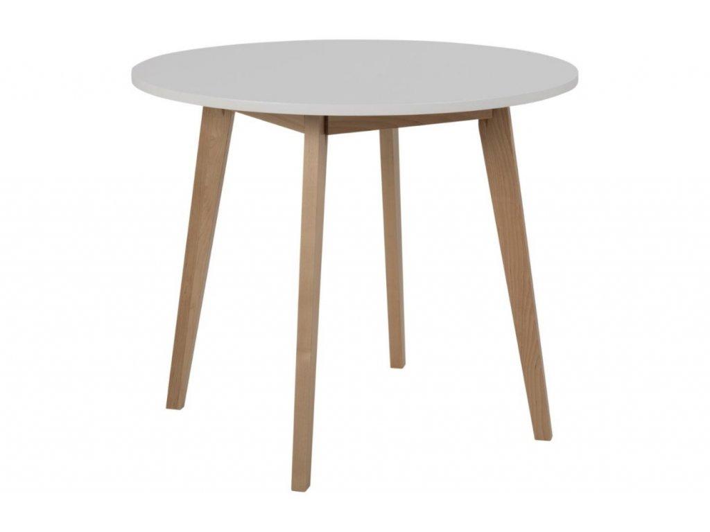 Bílý kulatý jídelní stůl Corby 90 cm