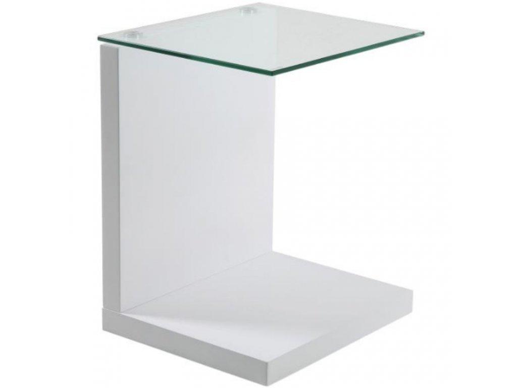 Skleněný noční stolek Stand s bílou podnoží, čiré sklo, lakované MDF