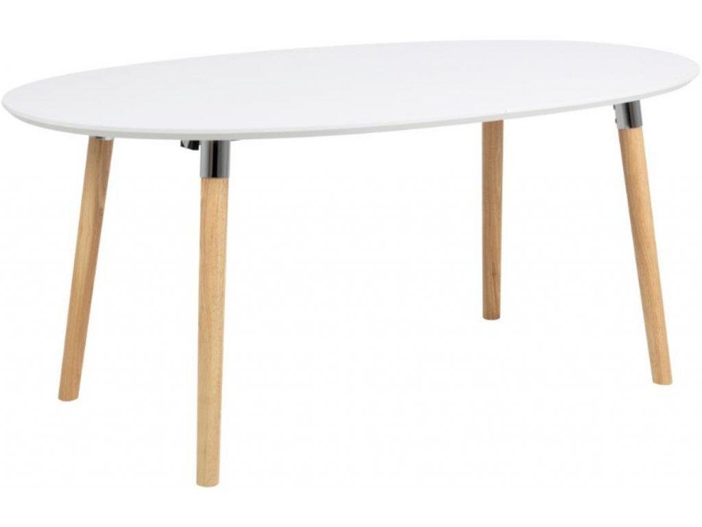 Bílý rozkládací jídelní stůl Ballet s dubovou podnoží 270x100 cm