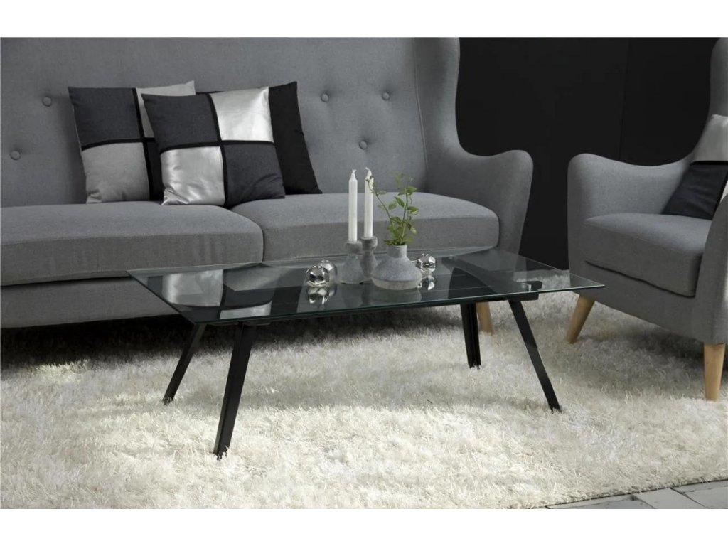 Skleněný konferenční stolek Mayland 120 cm, sklo, černě lakovaný kov