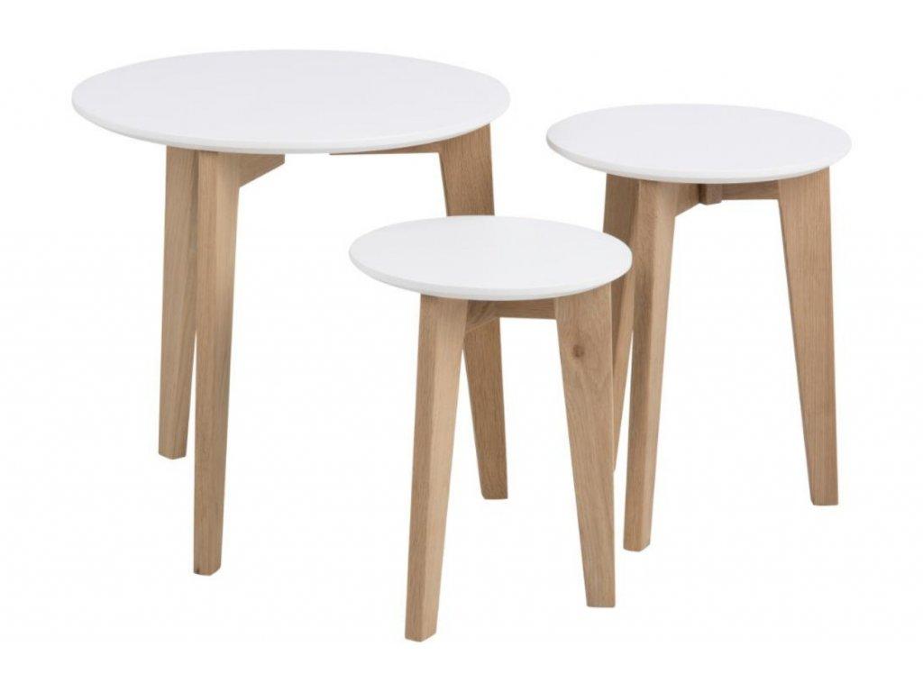 Bílý set konferenčních stolků Alvin s dubovou podnoží 50/35/30 cm