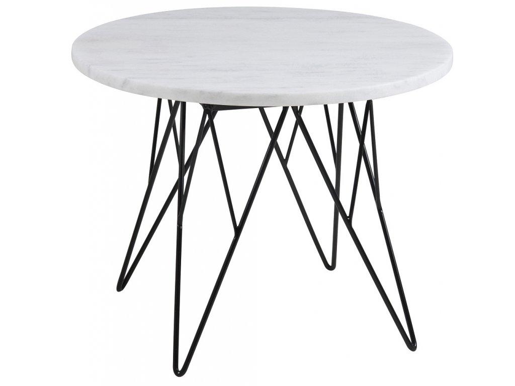 Bílý  mramorový konferenční stolek Stark 55 cm, mramor, černě lakovaný kov