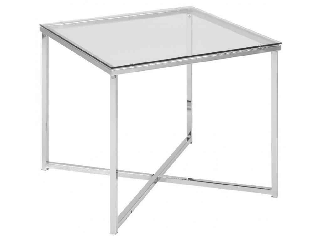 Skleněný konferenční stolek Claire 50x50 cm, chromovaná kovová podnož