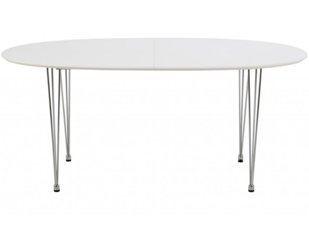 Bílý rozkládací jídelní stůl Karina s chromovou podnoží