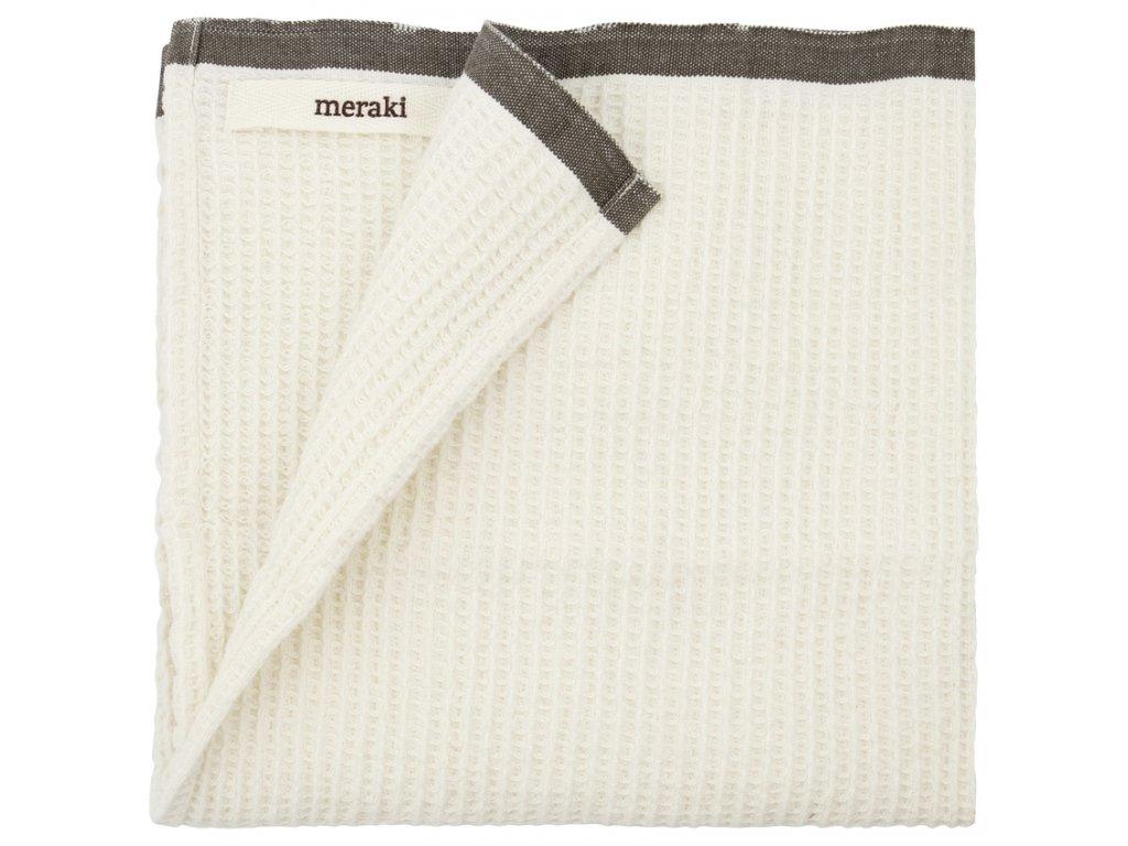 Bílá bavlněná utěrka Meraki Bare s tmavě šedým lemem, 50 x 50 cm