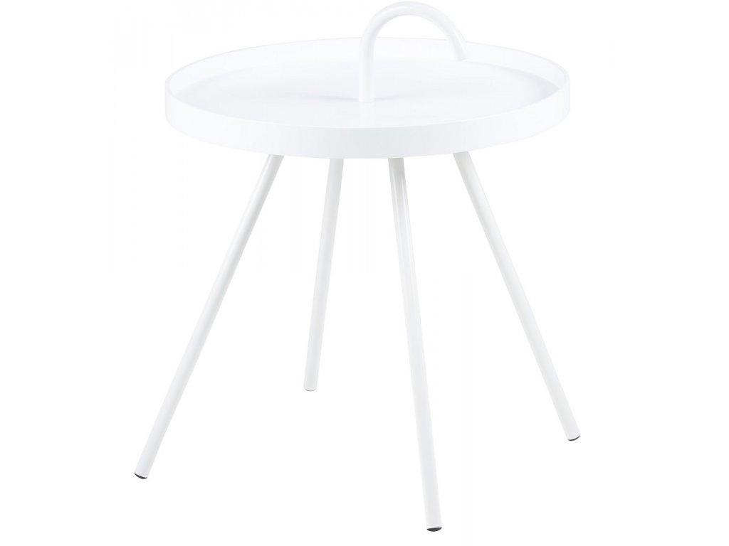 Bílý odkládací stolek Mikky 51 cm, dřevo, lakovaný kov