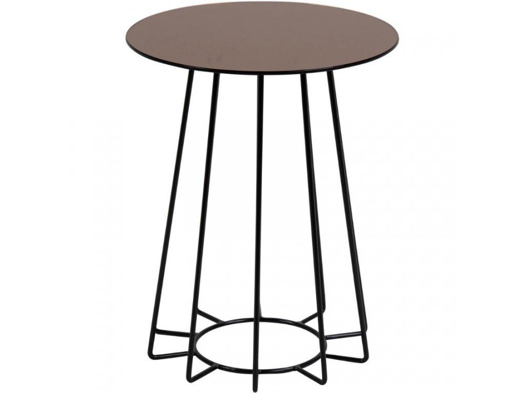 Bronzový odkládací stolek Goldy 40 cm s černou podnoží, sklo s bronzovým nástřikem, černě lakovaný kov