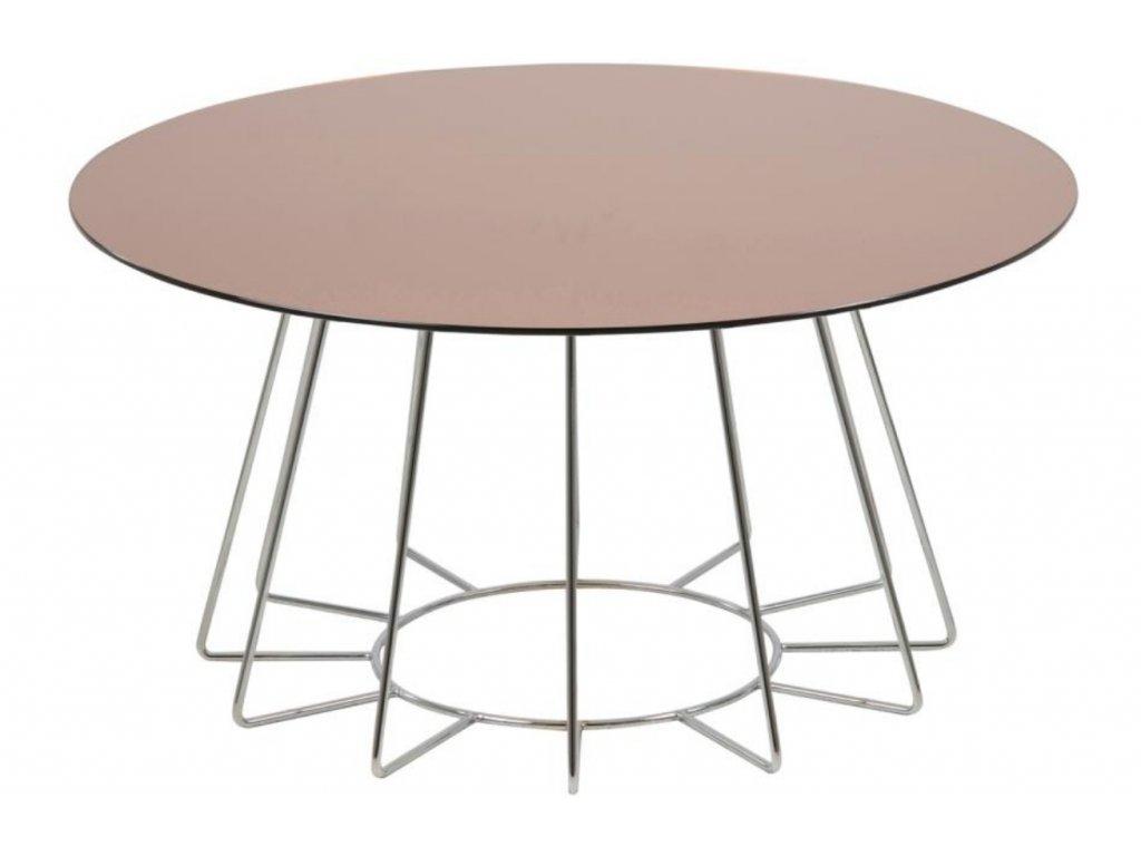 Měděný skleněný konferenční stolek Spyder 80 cm