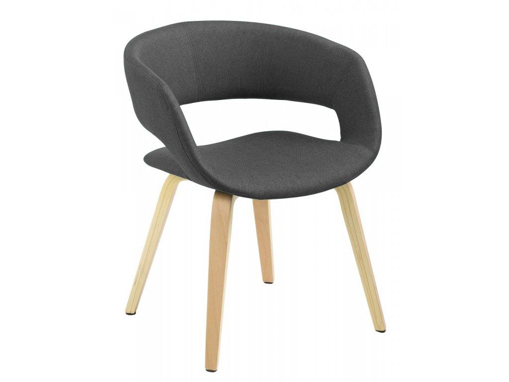 Tmavě šedá jídelní židle Garry s dřevěnou ,100% polyester, podnož z přírodní ohýbané překližky