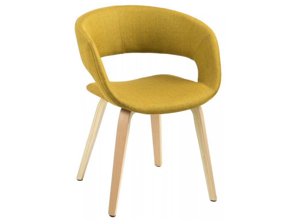 Žlutá látková jídelní židle Garry, podnož z ohýbaného dřeva, protiskluzové plstěné podložky