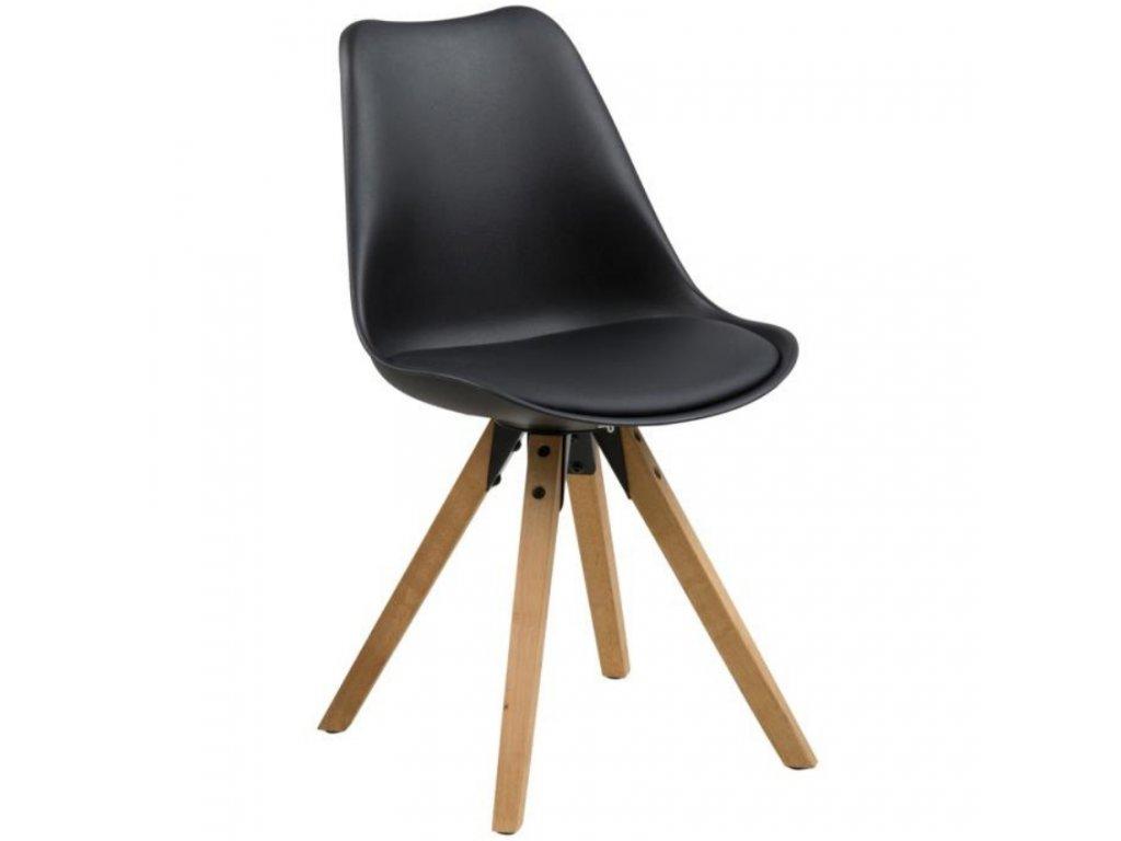 Designová černá plastová jídelní židle Damian s přírodní podnoží