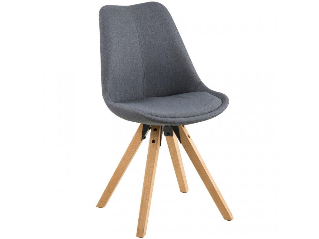 Tmavě šedá látková jídelní židle Damian s přírodní podnoží