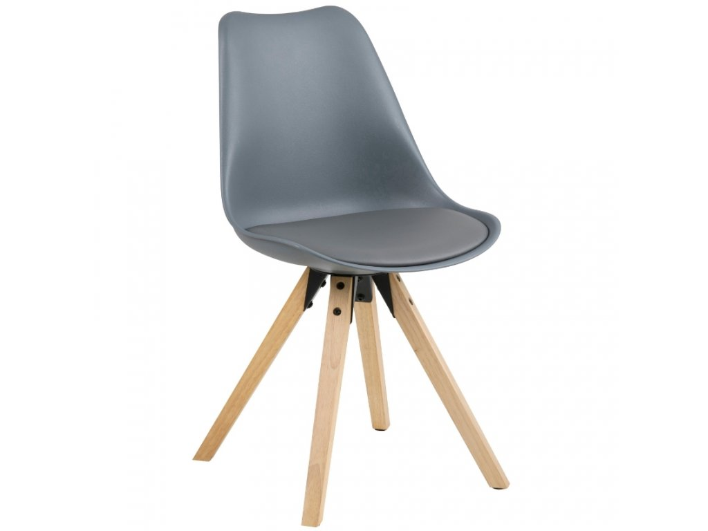 Šedá plastová jídelní židle Damian s přírodní podnoží