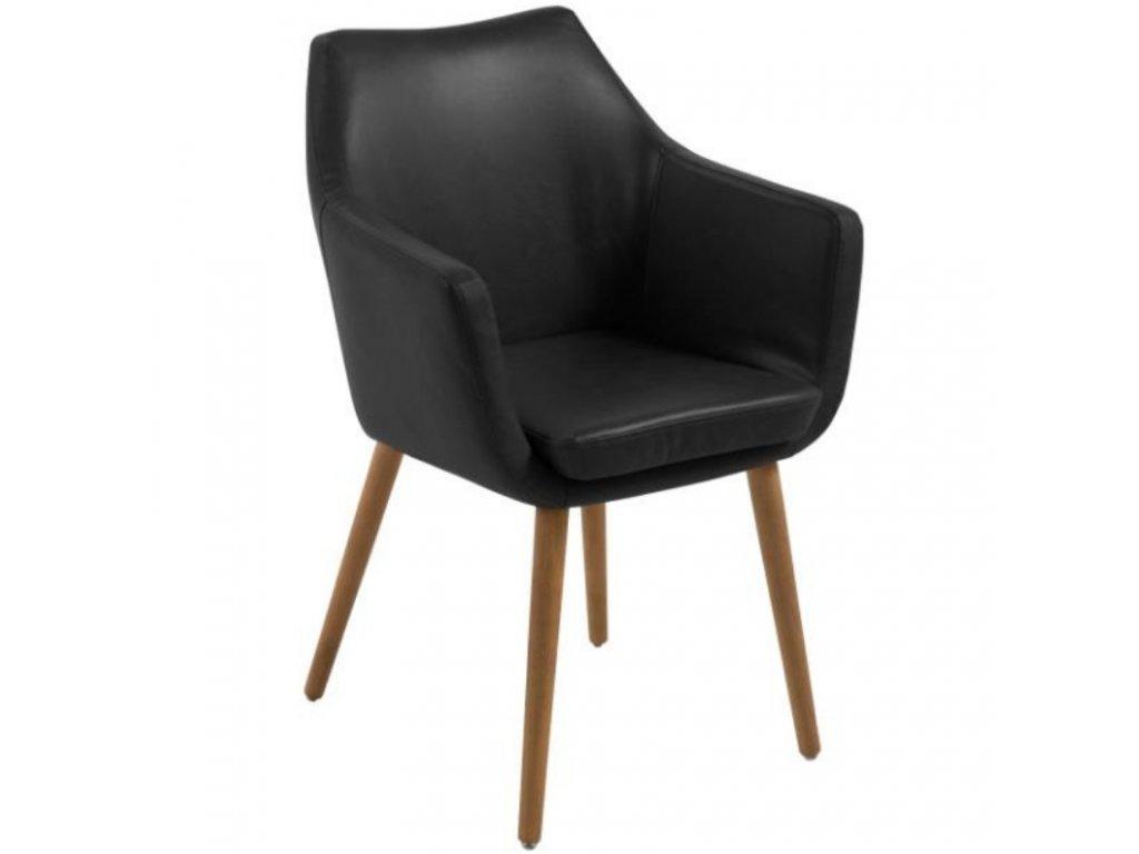 Černá koženková jídelní židle Marte s područkami