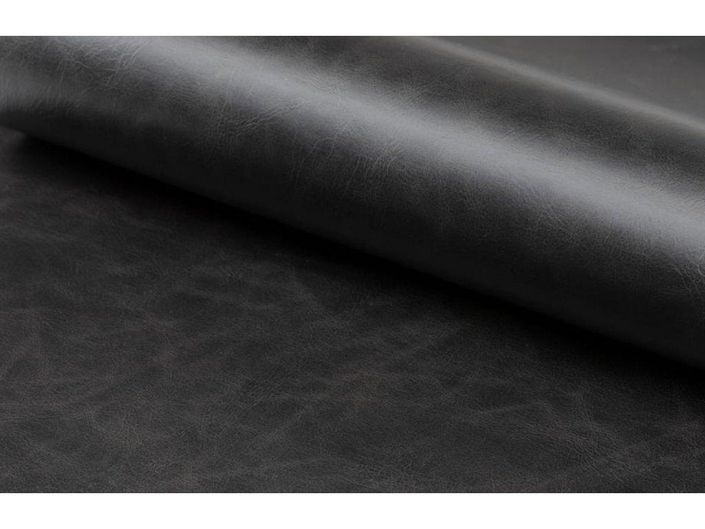 Černá koženková židle Marte s područkami