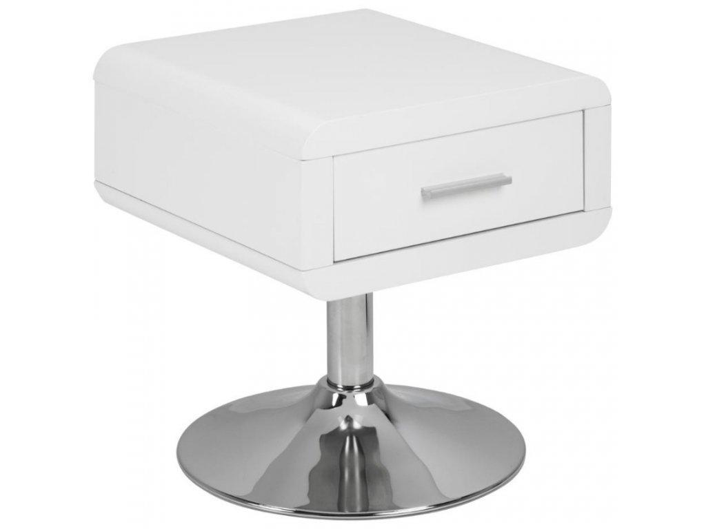 Bílý noční stolek Borono s kovovou chromovou podnoží, MDF lakovaná bílým lakem ve vysokém lesku