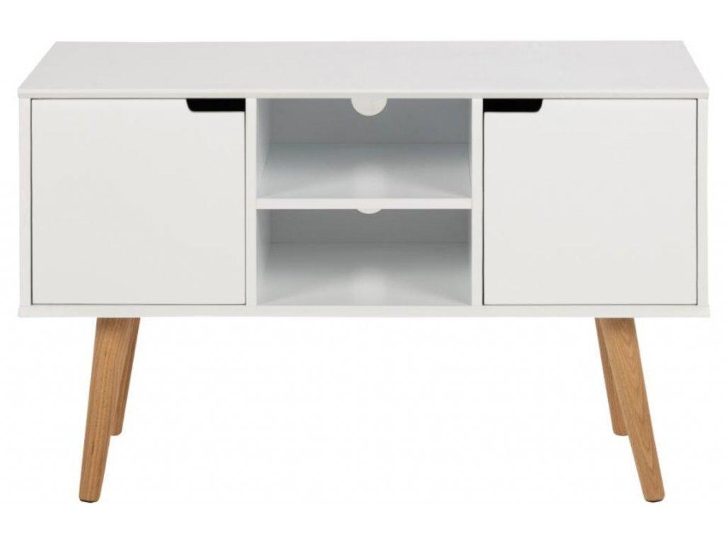 Bílá skříňka Marika 96 cm, MDF lakovaná matným bílým lakem, nohy z masivního dubového dřeva