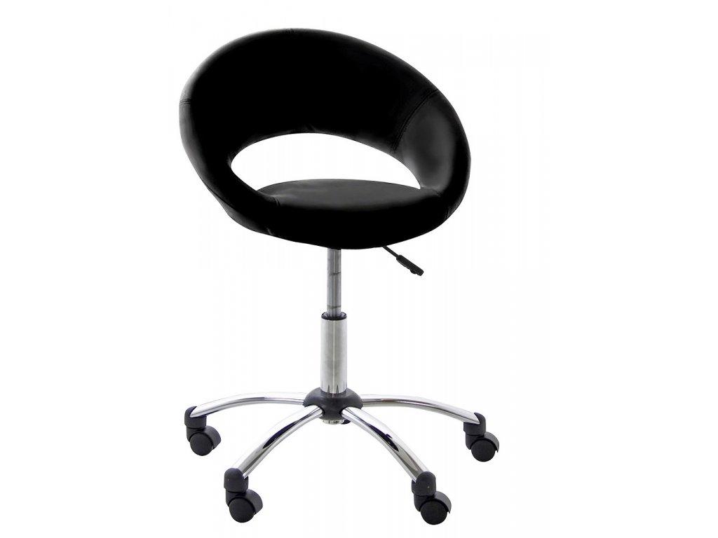 Černá koženková kancelářská židle Sunny