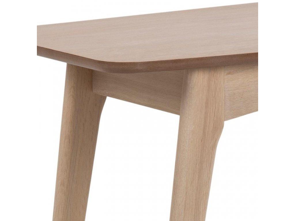 Přírodní dubový pracovní stůl se zásuvkou Downey 105 cm, podnož masivní dubové dřevo s bílou pigmentací, stolová deska přírodní dubová dýha, 1x zásuvka