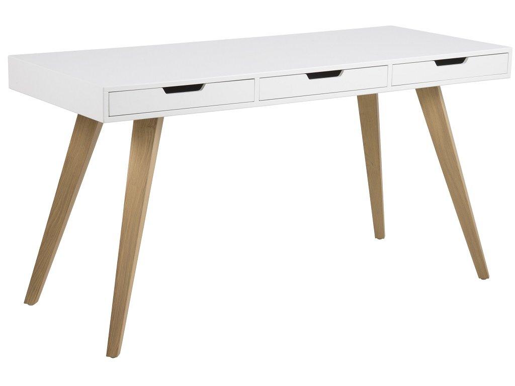 Bílý pracovní stůl Edita 140 cm, lakované MDF, podnož z masivního jasanového dřeva