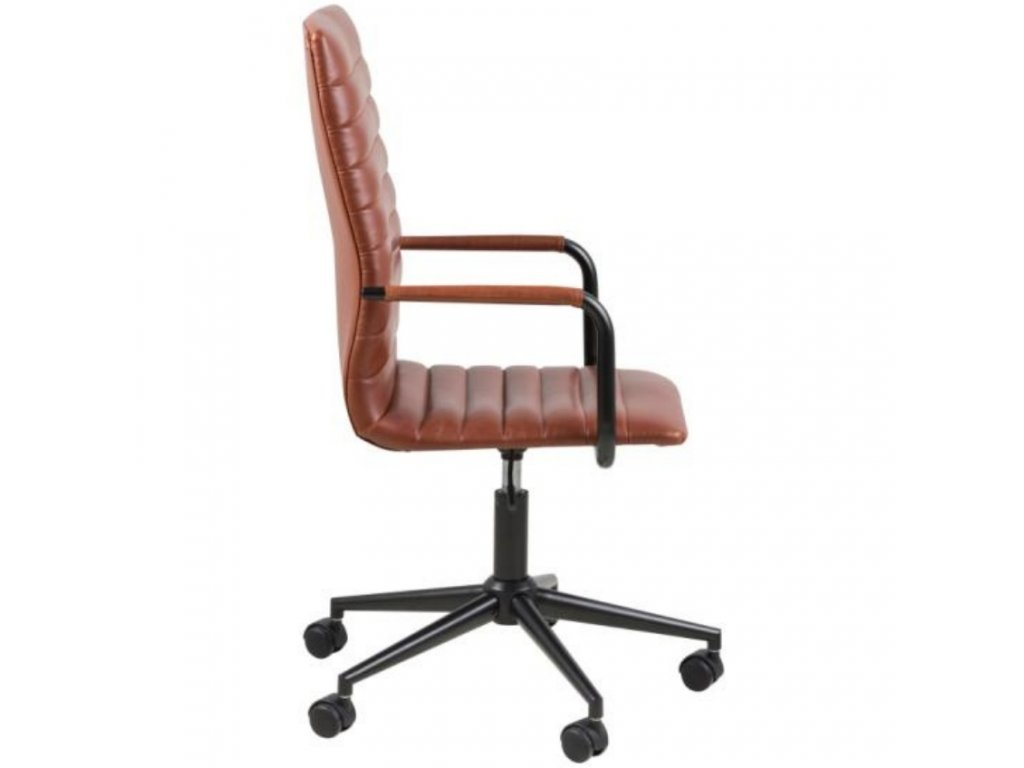 Hnědá konferenční židle Aqua z ekokůže, kovová podnož
