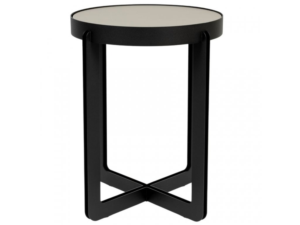 Šedý lakovaný odkládací stolek Banne Centre 42,5 cm s kovovou podnoží