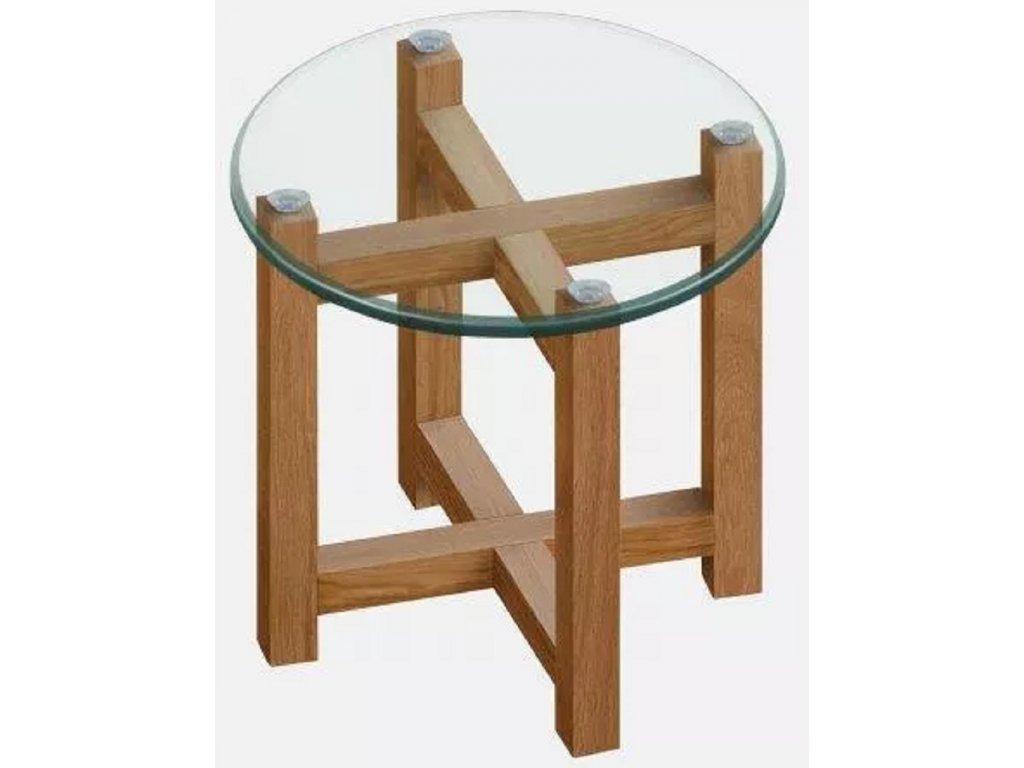 Skleněný odkládací stolek Amelie II 50 cm s dubovou podnožíBez názvu