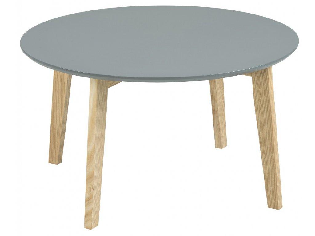 Šedý konferenční stolek Wingle 80 cm, MDF lakovaná šedým lakem, masivní jasanové dřevo