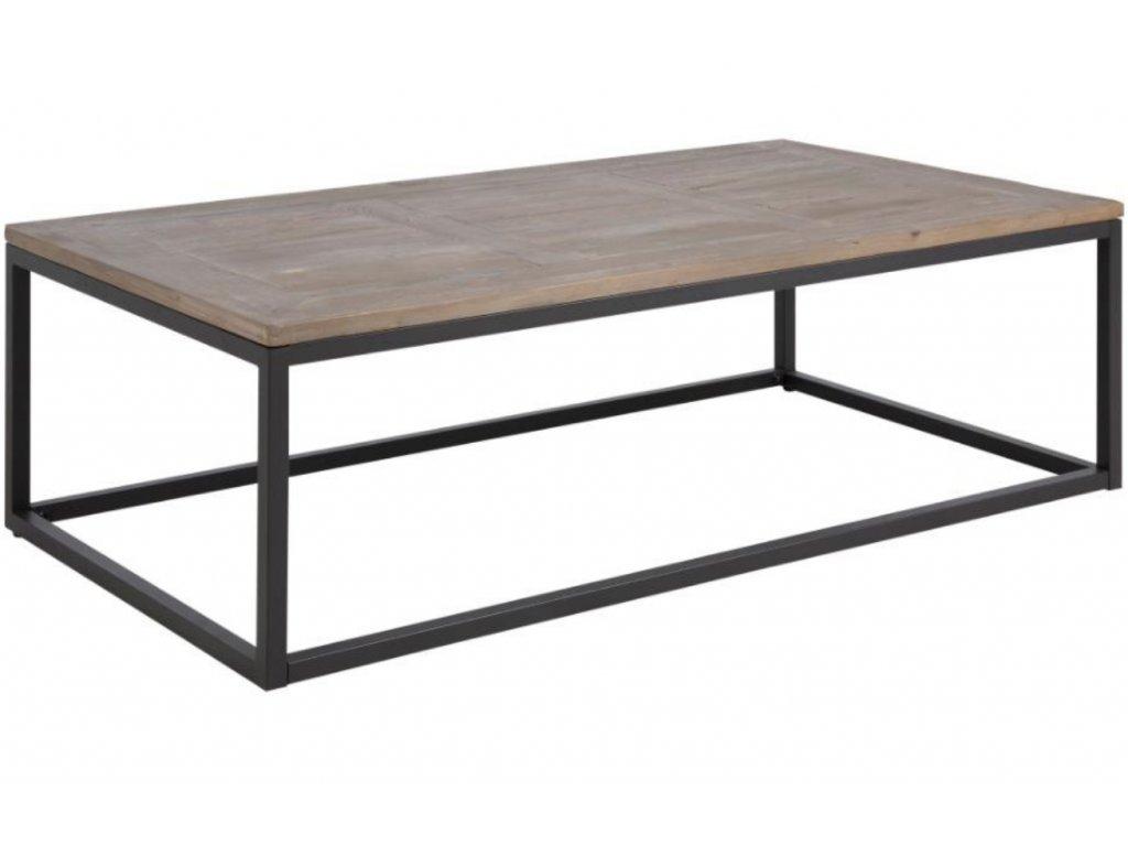 Dřevěný konferenční stolek Rocky 130 cm, masivní jedlové dřevo, černě lakovaný kov