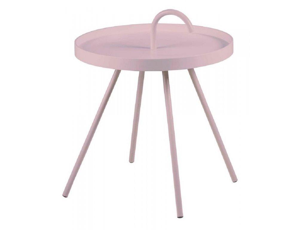 Dřevěný růžový odkládací stolek Mikky 51 cm,