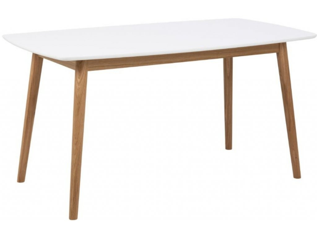 Bílý dubový jídelní stůl Nagy 150 cm