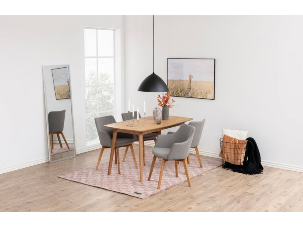 Hnědý dubový jídelní stůl Nagy 150 cm, dubová dýha, MDF, masivní dubové dřevo
