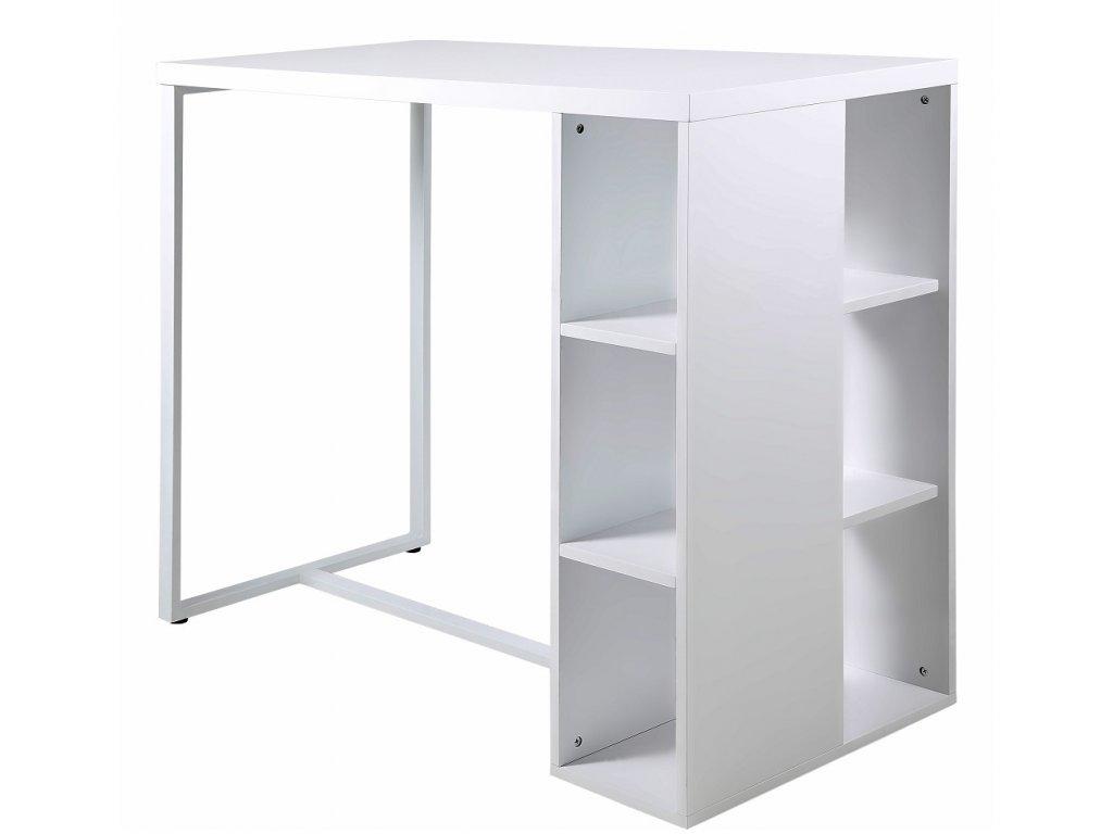 Bílý barový stůl Garny 120 cm, deska z MDF lakovaná bílým lakem ve vysokém lesku, kovová podnož lakovaná bílým lakem