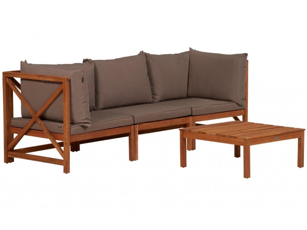 Hnědo šedý látkový zahradní set modulární pohovky a konferenčního stolku Lanterfant Suus