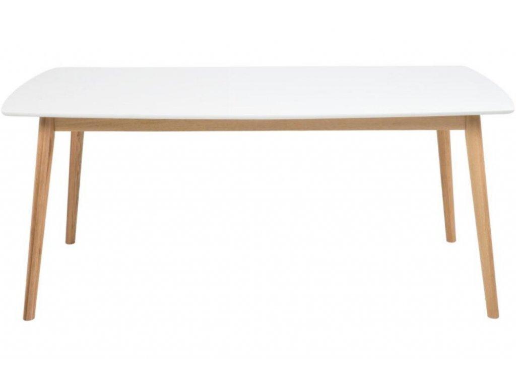 Bílý dubový jídelní stůl Nagy 180 cm,lakované MDF, masivní dubové dřevo