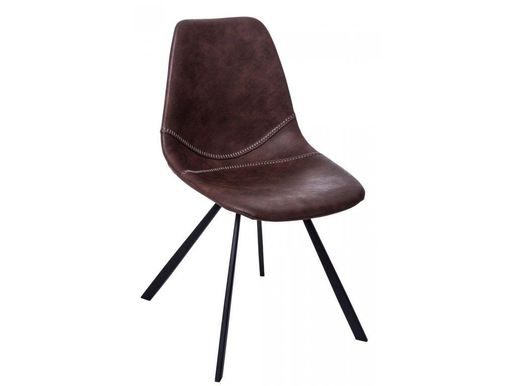 Hnědá kožená jídelní židle Vin