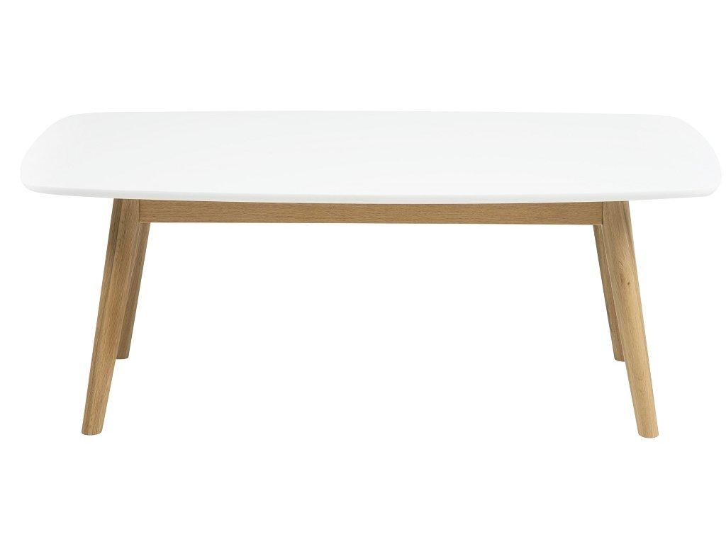 Bílý dubový konferenční stolek Nagy 110 cm, lakované MDF, masivní dubové dřevo