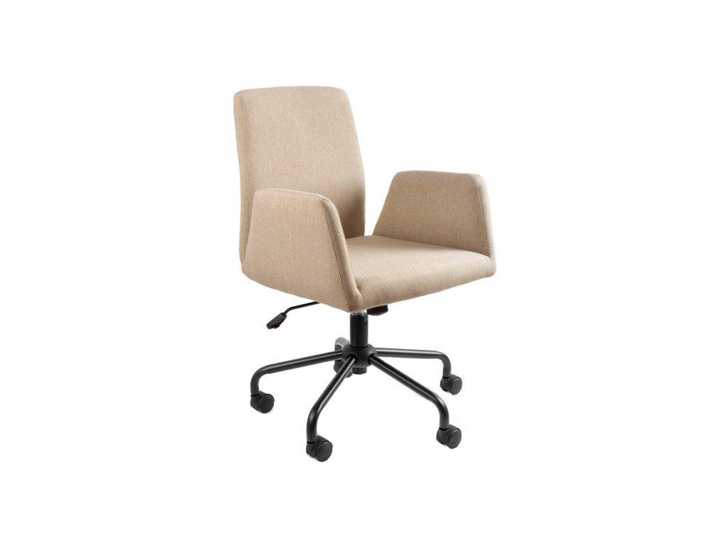 Béžová čalouněná látková konferenční židle Bela na kolečkách
