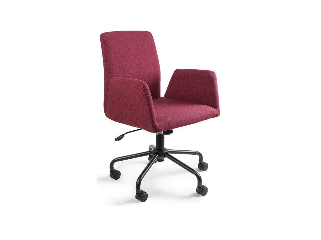 Červená konferenční židle Bela na kolečkách s kovovou podnoží