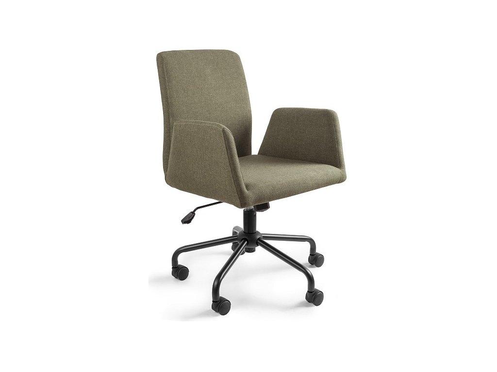 Zelená konferenční židle Bela na kolečkách s kovovou podnoží