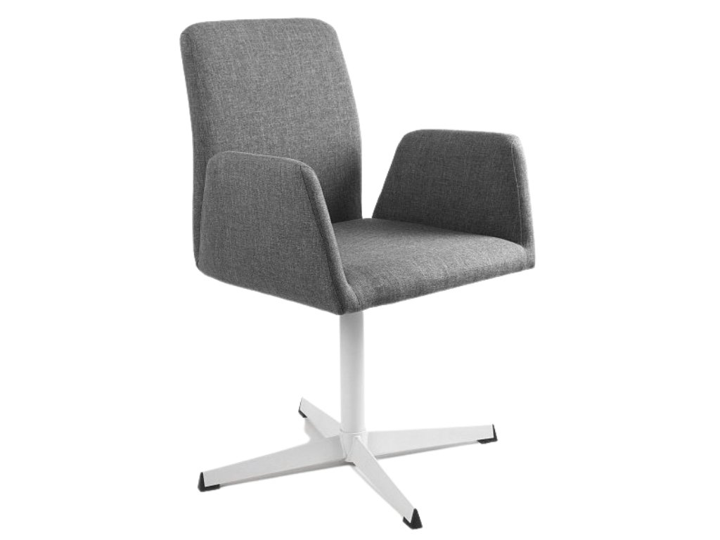 Šedá konferenční židle Bela s pevnou kovovou základnou